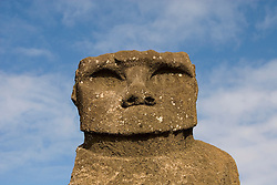 Chile, Easter Island: Statue or moai on a platform or ahu called Ahu Tahai, near Hang Roa..Photo #: ch225-33104..Photo copyright Lee Foster www.fostertravel.com lee@fostertravel.com 510-549-2202
