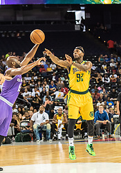 July 6, 2018 - Oakland, CA, U.S. - OAKLAND, CA - JULY 06: DeShawn Stevenson (92) co-captain of the Ball Hogs passes the ball around Mario West (19) of Ghost Ballers during game 2 in week three of the BIG3 3-on-3 basketball league on Friday, July 6, 2018 at the Oracle Arena in Oakland, CA  (Photo by Douglas Stringer/Icon Sportswire) (Credit Image: © Douglas Stringer/Icon SMI via ZUMA Press)