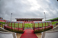 General view of the County Ground from the players tunnel during the The FA Cup 2nd round match between Swindon Town and Woking at the County Ground, Swindon, England on 2 December 2018.