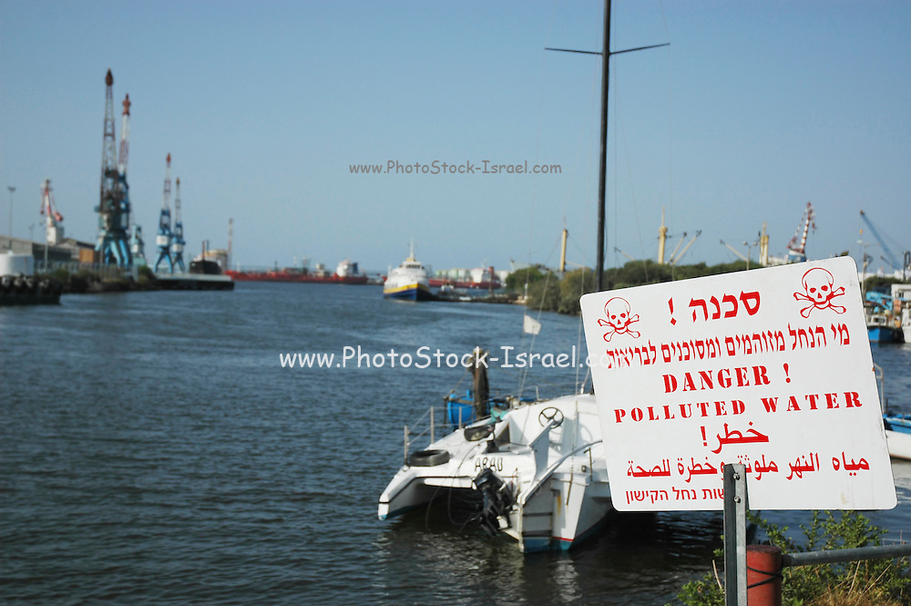 Israel, Bay of Haifa, Kishon River, with a warning sign Considered the most polluted river in Israel, it has been the subject of controversy regarding the struggle to improve the water quality. The pollution stems in part from daily contamination for over 40 years with mercury, chemicals, heavy metals by nearby chemical plants.