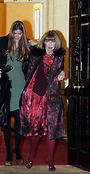 ©London News pictures. 21.02.2011. American Vogue editor Anna Wintour with a mark visible on her lip, leaves an event at No 10 Downing Street hosted by Prime Minister's wife Samantha Cameron to celebrate the UK's fashion industry. Picture Credit should read Carmen Valino/LNP