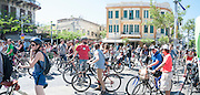 Critical Mass bicycle demonstration in Tel Aviv April 29 2016 with a call for safe cycling in the city