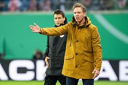 LEIPZIG, Nov. 1, 2018  Hoffenheim's head coach Julian Nagelsmann (R), who is confirmed to be new head coach of RB Leipzig in next season, gestures during the 2nd round match of German Cup between RB Leipzig and TSG 1899 Hoffenheim, in Leipzig, Germany, on Oct. 31, 2018. Leipzig won 2-0. (Credit Image: © Kevin Voigt/Xinhua via ZUMA Wire)