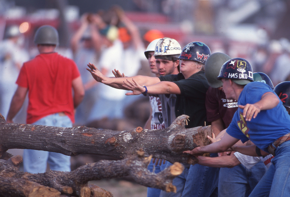 Texas A&M University in College Station, cleanup and memorials of November, 1999 in the aftermath of the Aggie Bonfire collapse that killed 12 students working late at night. Bonfire is a ritual at the campus in southeast Texas just before the traditional Texas-Texas A&M football game