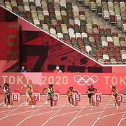 TOKYO, JAPAN - JULY 31:  The 100m semi finals for women inside the empty stadium due to Covid restriction during the Athletics competition at the Olympic Stadium  at the Tokyo 2020 Summer Olympic Games on July 31, 2021 in Tokyo, Japan. (Photo by Tim Clayton/Corbis via Getty Images)
