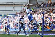 Brighton central midfielder, Dale Stephens scores a goal and celebrates during the Sky Bet Championship match between Brighton and Hove Albion and Cardiff City at the American Express Community Stadium, Brighton and Hove, England on 3 October 2015.