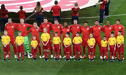 England players line up to sing their National Anthem during the FIFA World Cup 2018, round of 16 match at the Spartak Stadium, Moscow.