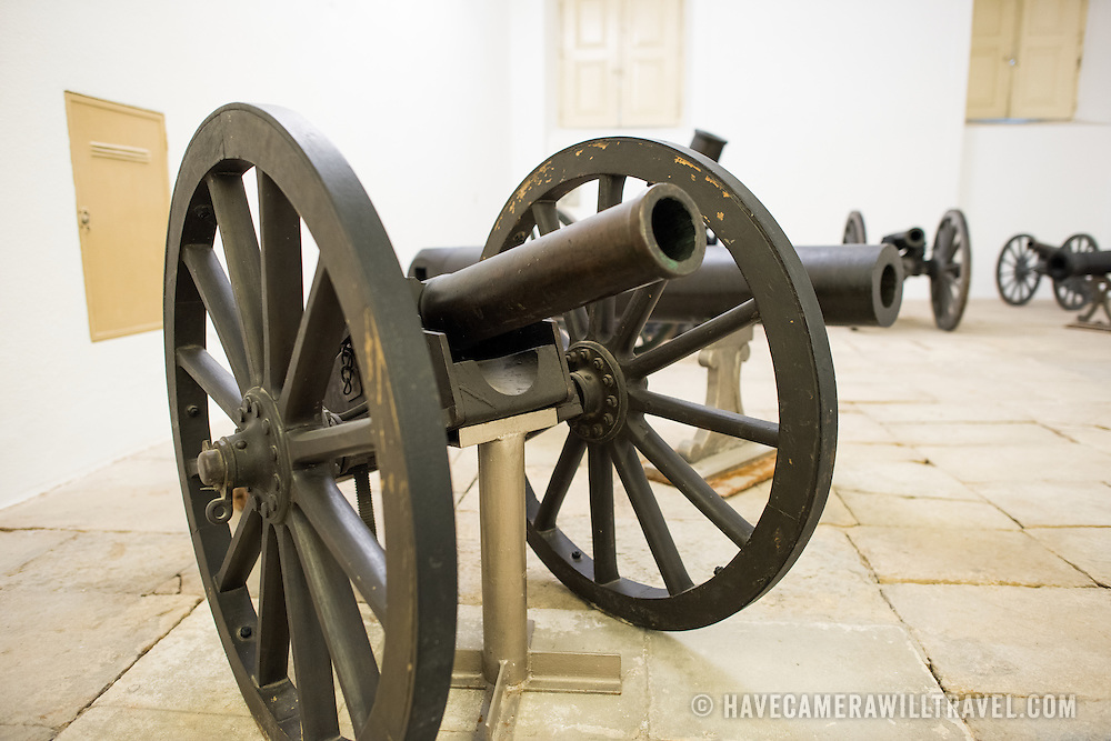 LISBON, Portugal - A bronze mountain gun cast in Portugal in 1896. Housed in the old armoury, Lisbon's Military Museum showcases 500 years of Portuguese military history, with many of the exhibits in opulently decorated rooms of the historic building.