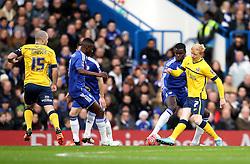 Luke Williams of Scunthorpe United passes the ball forward - Mandatory byline: Robbie Stephenson/JMP - 10/01/2016 - FOOTBALL - Stamford Bridge - London, England - Chelsea v Scunthrope United - FA Cup Third Round