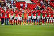 Charlton players just before kick off during the EFL Sky Bet League 1 match between Charlton Athletic and Shrewsbury Town at The Valley, London, England on 11 August 2018.