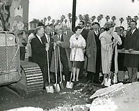 February 8, 1960 Ernest Debs, Harry Sugarman, Francis Bushman, E.M. Stuart, Gigi Pereau, Charles Colburn and Linda Darnell during the official Walk of Fame groundbreaking ceremony