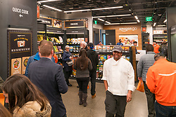 General view of the Amazon Go store shopping experience NON-EXCLUSIVE January 22, 2018. 22 Jan 2018 Pictured: Photo credit: AaronP/Bauergriffin.com/MEGA TheMegaAgency.com +1 888 505 6342