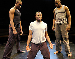 The Brothers Size<br /> Young Vic, London, Great Britain<br /> press photocall<br /> 9th November 2007<br /> <br /> Nyasha Hatendi (as Ogun)<br /> Obi Abili (as Oshoosi)<br /> Nathaniel Martello White (as Elegba)<br /> <br /> Photograph by Elliott Franks