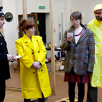 """Picture shows : Johnny McKnight as Callum ( Policeman), Sally Reid as Marie, Ros Sydney as Morag   and Greg Hemphill  as  Finlay..Rehearsal of the forthcoming National Theatre of Scotland production 'An Appointment with The Wicker Man'..Picture © Drew Farrell  ( Tel : 07721-735041 ).On a remote Scottish island, the Loch Parry Theatre Players mount their am-dram version of The Wicker Man. When their lead actor goes missing in mysterious circumstances, they call on the services of a television cop from the mainland to step in and save their production. ..The play opens at the MacRobert Arts Centre, Stirling on 18th February 2012 before touring Aberdeen, Glasgow, Inverness and Dunfermline...The Wicker Man regularly tops """"Best Horror Film of All Time"""" lists and is regarded as a true film classic. With an unforgettable sense of creeping dread, a wonderfully memorable score by Paul Giovanni, career defining performances from Edward Woodward and Christopher Lee it also has arguably the best ending in cinema history. Now, in an affectionate new adaptation, the National Theatre of Scotland gives a gallus round of applause to this immortal chronicle of strange goings-on in a wee village. ..An Appointment with the Wicker Man features Greg Hemphill (Chewin' the Fat) and Johnny McKnight (Little Johnny's Big Gay Wedding) alongside a line-up of comic talent. It is at once a deliciously wicked homage to, and a tender celebration of, a piece of cinema history that reveals for us the spooky undercurrents lurking just below the surface of Scottish village life. ..The Loch Parry Players are messing with forces they can't possibly comprehend but at the end of the night, only one thing is for sure . . . someone's going to burn for this...Cast..Sean Biggerstaff    as       Howie and Rory.Jimmy Chisolm      as       Simon.Greg Hemphill        as     Finlay.Johnny McKnight   as      Callum.Sally Reid                 as      Marie.Paul Riley.         as      Fran.Ros Sy"""