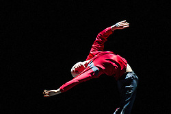 © Licensed to London News Pictures. 27/01/2012. Sadler's Wells, London. Former Royal Ballet Principal, Ivan Putrov, presents an evening of works exploring the beauty of the male form in motion. Joining him onstage will be Royal Ballet sensation Sergei Polunin, Mariinsky Ballet Principal Igor Kolb, Critics' Circle Award-winner Daniel Proietto, English National Ballet Senior Principal Elena Glurdjidze and South Bank Show Breakthrough Artist award-winner Aaron Sillis. .Picture shows Daniel Proietto in AfterLight (Part One). Photo credit : Tony Nandi/LNP