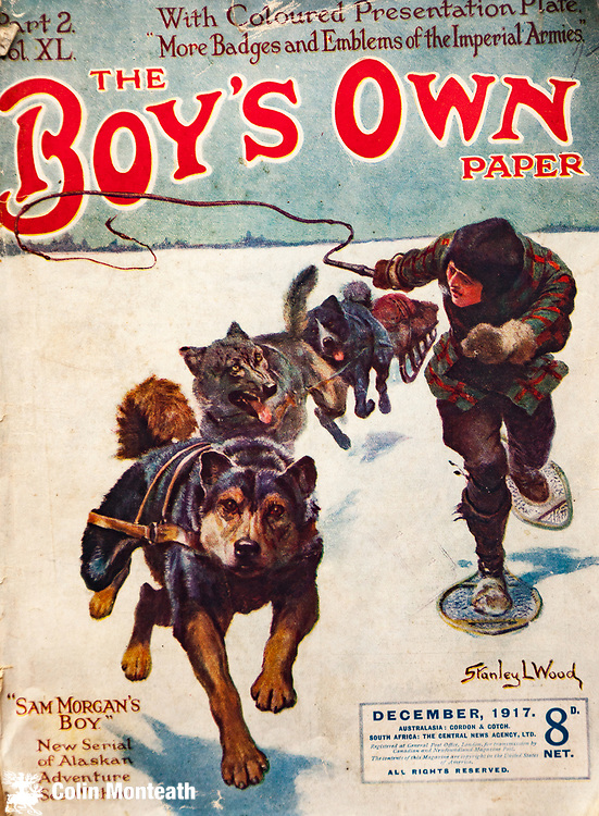 The Boy's Own paper, husky team travels over Arctic snow,  December 1917.