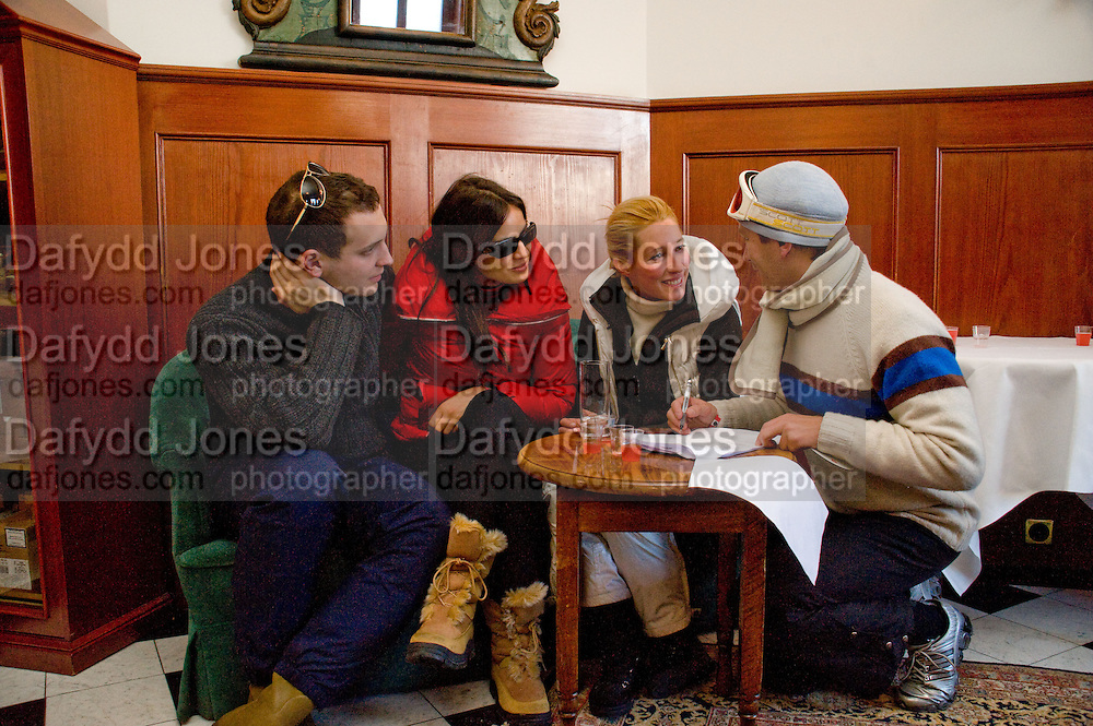 LORD FREDERICK WINDSOR; SOPHIE WINKLEMAN; ALEXANDRA BLOSS OWENS; PRINCE VALERIO MASSIMO DI ROCCASECCA.  ( PISTE AGAIN) Treasure Hunt in aid of the Knights of Malta,  St. Moritz, Switzerland. 23 January 2009 *** Local Caption *** -DO NOT ARCHIVE-© Copyright Photograph by Dafydd Jones. 248 Clapham Rd. London SW9 0PZ. Tel 0207 820 0771. www.dafjones.com.<br /> LORD FREDERICK WINDSOR; SOPHIE WINKLEMAN; ALEXANDRA BLOSS OWENS; PRINCE VALERIO MASSIMO DI ROCCASECCA.  ( PISTE AGAIN) Treasure Hunt in aid of the Knights of Malta,  St. Moritz, Switzerland. 23 January 2009
