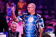 Kevin Burness gives a thumbs up to the crowd before his 2nd round match with Gary Anderson during the PDC World Championship darts at Alexandra Palace, London, United Kingdom on 14 December 2018.