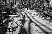 Plenty of empty seats at Bryant Park in New York City