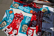 Scarves with Turkish president Recep Tayyip Erdogan's face outside a rally for a 'yes' vote in Izmir, western Turkey, ahead of the constitutional referendum.