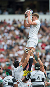 Twickenham, Surrey, United Kingdom.  Lock, Nick ISIEKWE, collect the line out ball, during the, Old Mutual Wealth Cup, England vs Barbarian's match, played at the  RFU. Twickenham Stadium, on Sunday   28/05/2017England    <br /> <br /> [Mandatory Credit Peter SPURRIER/Intersport Images]