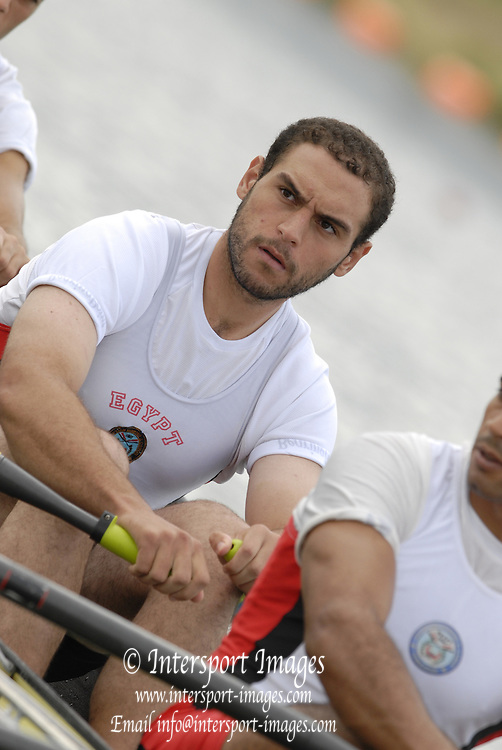 Eton, GREAT BRITAIN, EGY M4X, Bow Mohamed GOMMA, Mostafa EL BESTAWY, Dobhy ZOGHOBA, Aly ALY IBRAHIM, at the start 2006 World Rowing Championships, 23/08/2006.  Photo  Peter Spurrier, © Intersport Images,  Tel +44 [0] 7973 819 551,  email images@intersport-images.com , Rowing Courses, Dorney Lake, Eton. ENGLAND