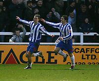 Fotball<br /> England 2004/2005<br /> Foto: SBI/Digitalsport<br /> NORWAY ONLY<br /> 22.01.2005<br /> <br /> Hartlepool United v Bristol City, Coca-Cola League 1, Victoria Park, Hartlepool 22/01/2005.<br /> <br /> Hartlepool's Antony Sweeney (L) celebrates scoring his team's second goal with his team-mate Joel Porter (R).