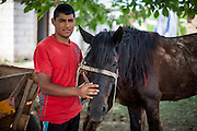 "Young Roma man with his horse named ""Gina"" (as all the other horses) in the Roma area of Frumusani."