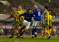 Photo. Jed Wee.<br /> Everton v Norwich City, FA Cup 3rd Round, Goodison Park, Liverpool. 03/01/2004.<br /> Everton's Kevin Kilbane (C) celebrates his opening goal.
