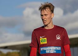 Gustav Kjeldsen (Skive IK) under kampen i 1. Division mellem FC Helsingør og Skive IK den 18. oktober 2020 på Helsingør Stadion (Foto: Claus Birch).