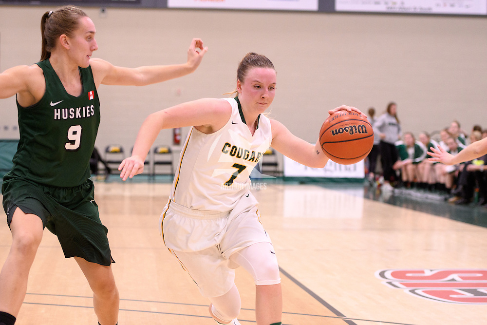 4th year guard Sara Hubenig (7) of the Regina Cougars in action during the home game on December  2 at Centre for Kinesiology, Health and Sport. Credit: Arthur Ward/Arthur Images