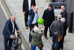 © Licensed to London News Pictures. 04/06/2016. LONDON, UK.  BORIS JOHNSON arrives at a Vote Leave rally at Forman's Fish Island in east London. Vote Leave is the official campaign for a Leave vote (Brexit) in the EU Referendum that will take place in the United Kingdom on the 23rd June 2016.  Photo credit: Vickie Flores/LNP