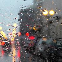 USA, Illinois, Chicago. Rain and traffic.