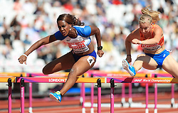 Great Britain's Tiffany Porter competes in the Women's 100m Hurdles Heats during day eight of the 2017 IAAF World Championships at the London Stadium.