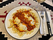 Chicken parmesan with fusili pasta dinner