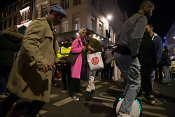 © Licensed to London News Pictures.  12/04/2021. London, UK. Members of the public are seen in in Soho, central London as the government takes the next step on its lockdown-lifting road map and pubs and restaurants gardens  re-open today.  Photo credit: Marcin Nowak/LNP