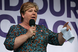 London, UK. 4 September, 2019. Emily Thornberry, Shadow Foreign Secretary, addresses Remain supporters at a Defend Our Democracy rally in Parliament Square shortly after MPs passed the Brexit delay bill in the House of Commons.