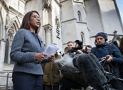 © Licensed to London News Pictures. 03/11/2016. London, UK. Brexit challenger Gina Miller talks to reporters at the High Court. High Court has ruled that Parliament must be consulted before the Government trigger article 50 and the UK exit from the EU. Photo credit: Peter Macdiarmid/LNP