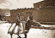Villager on donkey in Ighrem N'Ougdal, Ouarzazate, Atlas Mountains, Morocco