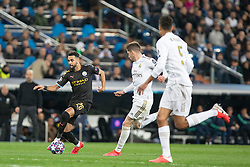 Real Madrid's Raphael Varane and Manchester City's Riyad Mahrez during the UEFA Champions League round of 16 first leg match Real Madrid v Manchester City at Santiago Bernabeu stadium on February 26, 2020 in Madrid, Sdpain. Real was defeated 1-2. Photo by David Jar/AlterPhotos/ABACAPRESS.COM