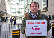 Jono Read (change.org petition organiser), delivers over 271,000 strong petition to save BBC Three to the BBC broadcasting house. Central London. 17th February 2015.