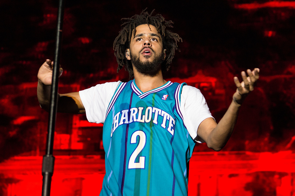 J. Cole performing at Bonnaroo in Manchester, TN on June 10, 2016.