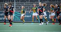 AMSTELVEEN - HDM heeft gescoord door Jip Dicke (HDM)  tijdens de competitie hoofdklasse hockeywedstrijd dames, Amsterdam-HDM (1-1).  COPYRIGHT KOEN SUYK