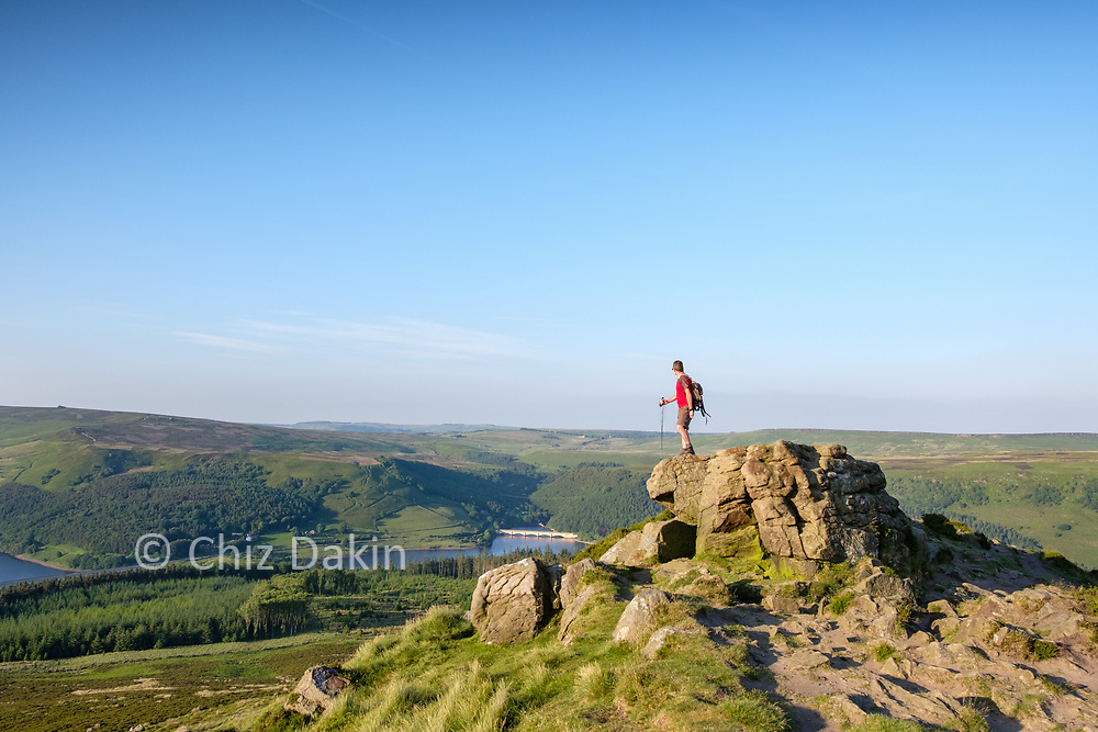 The rocky summit of Win Hill provides a great viewpoint