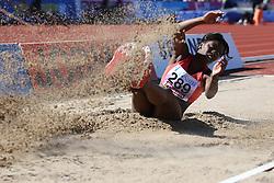 Khaddi Sagnia  of Sweden in the long jump. Folksam Grand Prix Göteborg, Slottskogsvallen, 14. juni 2014.