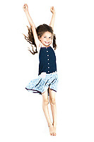 caucasian little girl arms outstretched success isolated studio on white background
