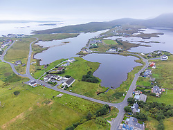 Aerial view from drone of village of Leverburgh on Isle of Harris, Scotland ,UK