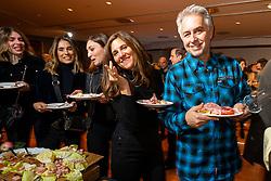 Arlen Ness' Cory Ness and Christine LePera of LePera motorcycle seat company at the Palazzo della Gran Guardia Motor Bike Expo (MBE) Gala in Verona's Piazza Bra. Italy. Thursday, January 16, 2020. Photography ©2020 Michael Lichter.