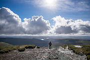 © Licensed to London News Pictures. 15/10/2016. Brecon Beacons, UK.  Clouds over walkers in showery weather on Fan Y Big in the `Brecon Beacons National Park. Photo credit : Stephen Simpson/LNP