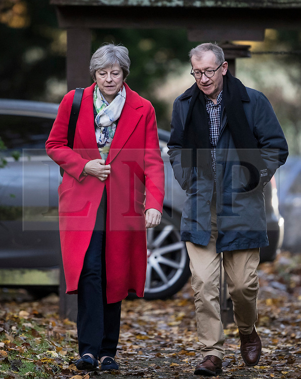 © Licensed to London News Pictures. 19/11/2017. UK. Prime Minister Theresa May attends church with her husband Philip. Photo credit: Peter Macdiarmid/LNP